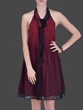 Maroon Printed Halter-Neck Dress - LABEL Ritu Kumar