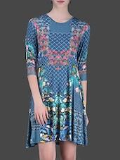 Blue Printed Short Dress - LABEL Ritu Kumar