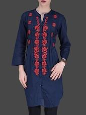 Navy Blue Embroidered Quarter-Sleeved Tunic - LABEL Ritu Kumar