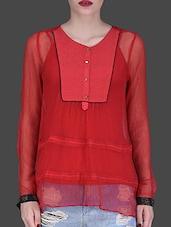 Solid Red Viscose Chiffon Top - LABEL Ritu Kumar
