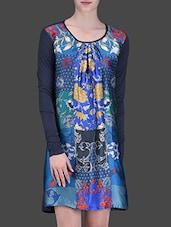 Navy Blue Printed Full-sleeved Tunic - LABEL Ritu Kumar