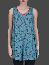 Blue Printed Flared Sleeveless Top - LABEL Ritu Kumar