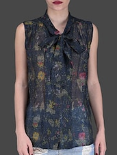 Navy Blue Printed Top With Front Knot - LABEL Ritu Kumar