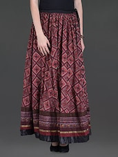 Maroon Printed Cotton Maxi Skirt - LABEL Ritu Kumar