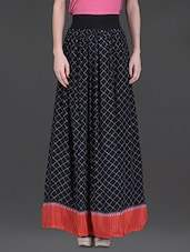 Black Geometric Print Long Skirt - LABEL Ritu Kumar