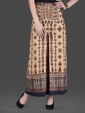 Printed Beige Kushung Maxi Skirt - LABEL Ritu Kumar