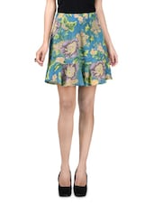 Blue Floral Print Short Skirt - By