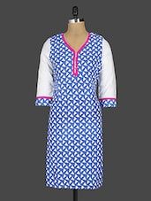 Triangles Printed Blue Cotton Kurta - Kyaara