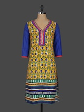 Ethnic Floral Print Quarter Sleeves Cotton Kurta - Kyaara