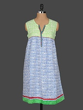 Block Printed Sleeveless Cotton Kurta - Kyaara