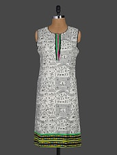 Warli Print Sleeveless Cotton Kurta - Kyaara