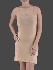 Beige Knitted Viscose Lycra Long Camisole - Ladie Grace