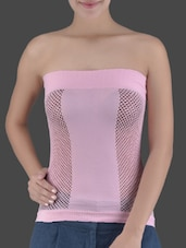 Pink Knitted Viscose Lycra Tube Top - Ladie Grace