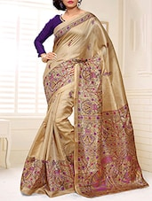 Beige Silk Satin Printed Saree -  online shopping for Sarees