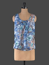 Blue Floral Printed Sleeveless Top - Muse Couture