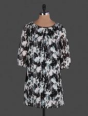 Black Floral Printed Sleeveless Georgette Dress - Lamora Get High In Fashion