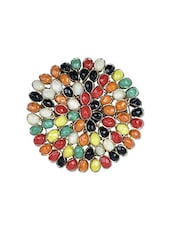 Colourful Stone Studded Round Brooch - By
