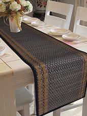 Dark Blue Bamboo Silk And Cotton Table Runner - Malang