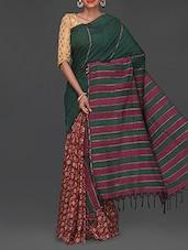 Stripped Pallu Printed Half & Half Kalamkari Saree - Komal Sarees