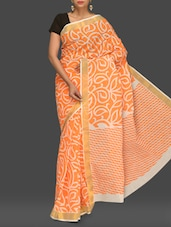 Orange Printed Handloom Cotton Saree - Komal Sarees
