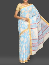 Blue Floral Print Handloom Cotton Saree - Komal Sarees