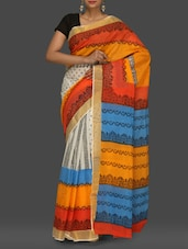 Multicoloured Printed Handloom Kerala Cotton Saree - Komal Sarees