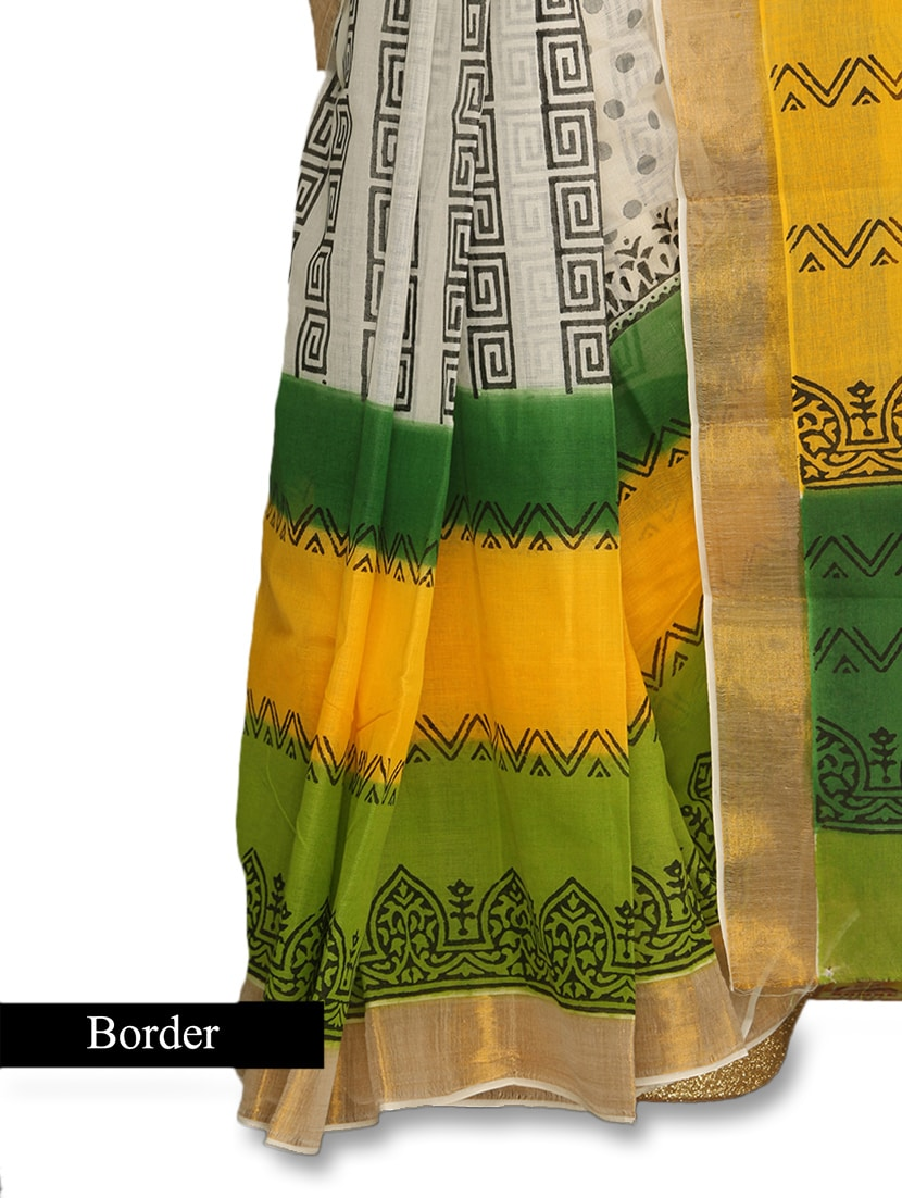 9ea8ab8b Buy Multicoloured Printed Handloom Kerala Cotton Saree for Women from Komal  Sarees for ₹620 at 0% off | 2019 Limeroad.com