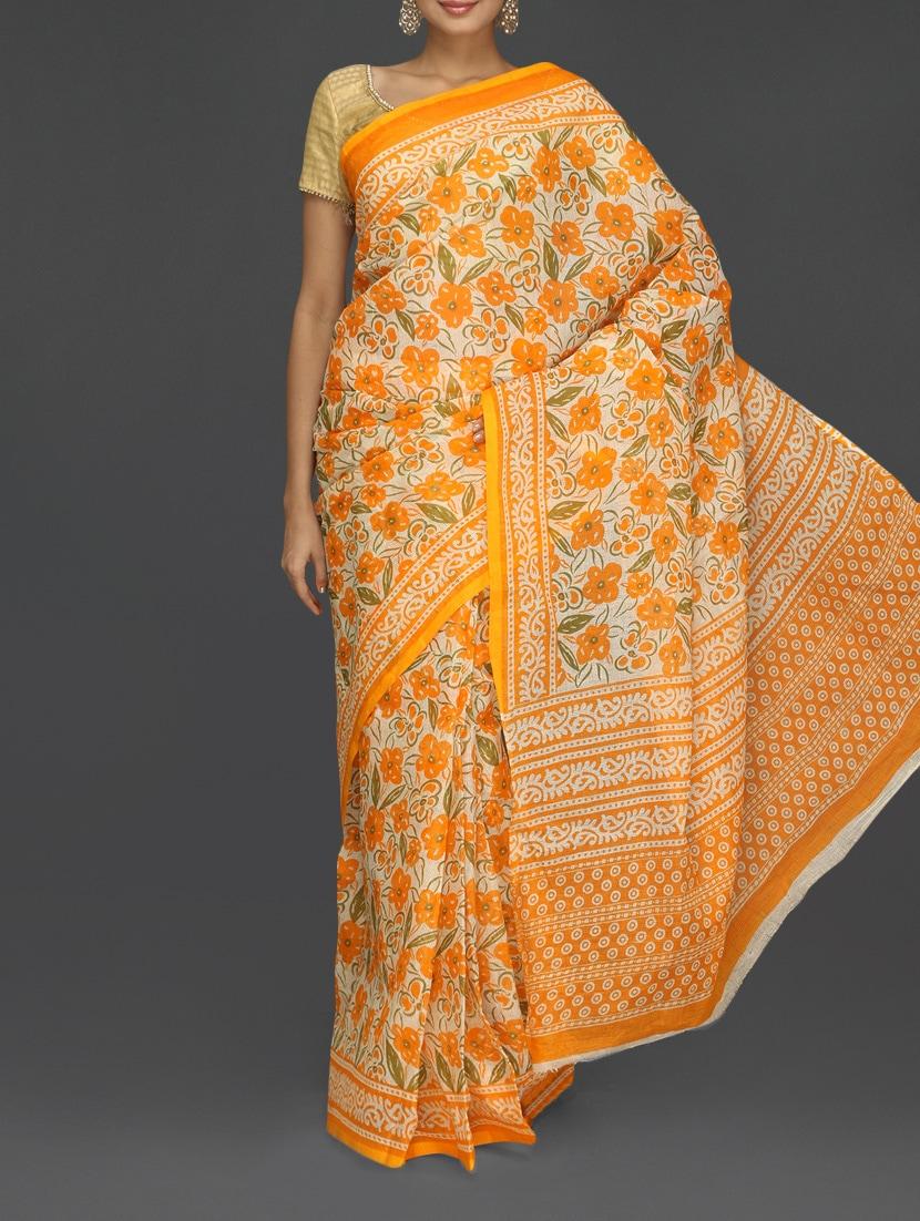 Orange Floral With Leaf Printed Kota Saree - Komal Sarees