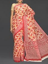 Floral Printed Border Saree - Komal Sarees