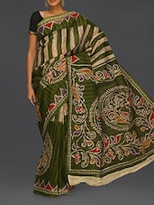 Printed Green Matka Cotton Saree - Komal Sarees