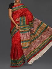 Ethnic Print Pallu Matka Cotton Saree - Komal Sarees