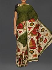Cream And Green Handwoven Pure Cotton Saree - Komal Sarees