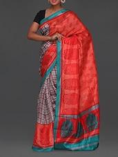 Checked Body Handwoven Pallu Bhagalpuri Saree - Komal Sarees