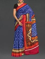 Blue Ikat Print Bhagalpuri Silk Saree - Komal Sarees