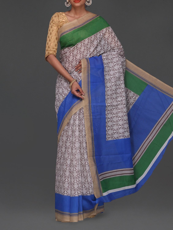 Blue & Green Border Printed Bhagalpuri Saree - Komal Sarees