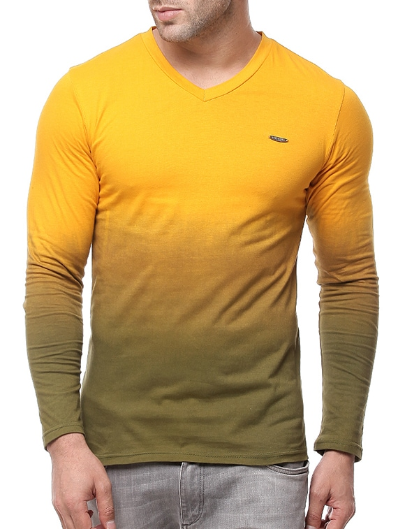 7978cdeed1b1 Buy Yellow Ombre Cotton T-shirt for Men from Gritstones for ₹372 at 53% off