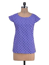 Purple Cotton Polka Dots Print Top - By