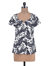 Black And White Cotton Floral Printed Top - By
