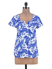 Blue And White Cotton Floral Printed Top - By
