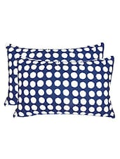 navy blue cotton polka dot print pillow cover (set of 2) -  online shopping for pillow covers