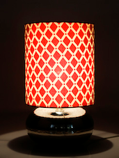 White And Red Printed Handmade Table Lamp - Craftter