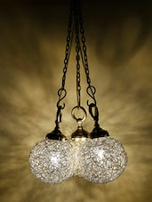 Silver Wire Ball Hanging Lamp (Set Of 3) - Craftter