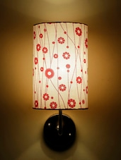 White Floral Printed Handmade Wall Lamp - Craftter