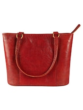 Red Pure Leather Formal Hand Bag - Craftter