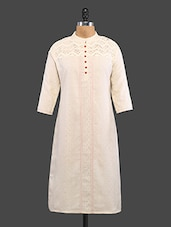 Crochet Yoke Quarter Sleeves Cotton Kurta - NAMAH