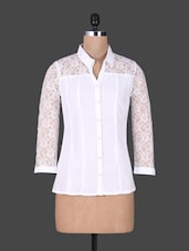 White Shirt With Lace Sleeves - Oviya