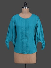Solid Teal Rayon Top With Balloon Sleeves - Oranje
