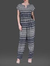 Monochrome Printed Short Sleeves Poly-crepe Jumpsuit - AARDEE