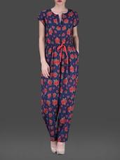 Floral Print Short Sleeves Poly-crepe Jumpsuit - AARDEE