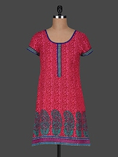 Printed Short Sleeves Cotton Kurti - AARDEE